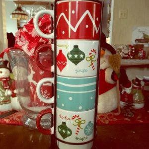 EUC Set is 4 Holiday Mugs & Metal Stand Display